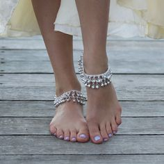 Silver Indian Wedding Anklets by ForeverSoles on Etsy, $23.50