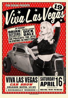 Image of Viva Las Vegas 19 Poster feat. Audrey Deluxe, Brian Setzer, Dick Dale, The Polecats, The Dynotones Barber Shop Vintage, Vintage Bar, Hotel Weekend, Vintage Music Posters, Car Show, Burlesque, Rock N Roll, Rockabilly, Cars Motorcycles