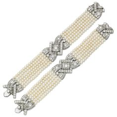 Pair of natural pearl and diamond bracelets, 1930s, and six loose natural pearls Each bracelet composed of six rows of natural pearls measuring from approximately 3.50 to 4.00mm, with a central geometric motif and clasp set with circular-, single-cut, rose and baguette diamonds, lengths approximately 175 and 185mm, case stamped Hennell, the exterior of the case with monogram and coronet for Mary, Duchess of Roxburghe; together with 6 loose natural pearls measuring from approximately 4.90 to…