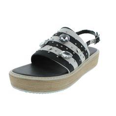 Tibi Womens Hedda Canva Jeweled Slingback Sandals