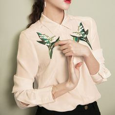 Larmoni (lily of the valley) Chic Floral Embroidery Shirt