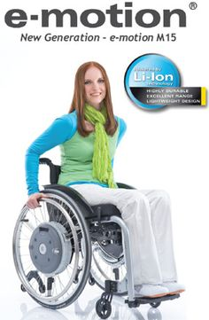 e-motion - Power Assist for manual wheelchair users The e-motion power-assisted wheel is mounted on the wheelchair in place of the manual wheels. The batteries are integrated in the wheel hub and can be removed from a sitting position. A sensor registers the propelling movement and activates the electrical motors.