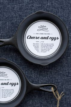 Love this idea.... for giving a frying pan with recipe for it's use placed inside. So clever.
