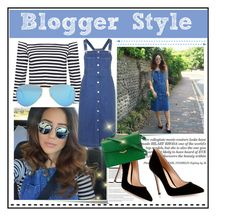 """""""blogger style"""" by zafirahx ❤ liked on Polyvore featuring Post-It, Arche, Gianvito Rossi, Topshop, Fendi, Ray-Ban, blogger, denim and Heels"""