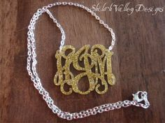 2 Inch Monogram Necklace Personalized Acrylic Monogrammed Pendant Shown in Gold Sparkle) on Etsy, $22.95