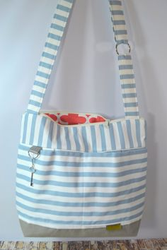 Large Tote / Stockholm Blue Stripe / Washable and by DarbyMack