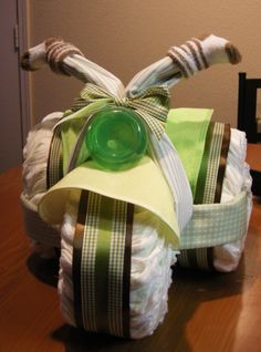I made this diaper tricycle for my sister's shower!
