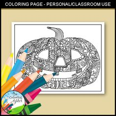 Jack-o-lantern Zentangle / Doodle Coloring Page