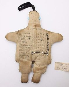 Photo #2: Chinese Laundry doll~~Mission doll??? Has a laundry list on back, with numbers 1-10 beside each, and pushpins to show how many of each item is being dropped off.  eBay, Aug., 2016. Sold for $179.49.