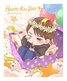 Happy birthday Kim Kai ♡ Happy Birthday to both of you Exo Kai, Chanyeol, Kai Arts, Exo Anime, Exo Fan Art, Exo Memes, Kaisoo, Kpop Fanart, Me Me Me Anime