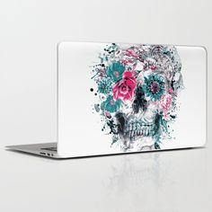 MOMENTO MORI IX Laptop & iPad Skin #skull #flowers #collage #abstract #colors #digitalart