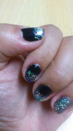 Black with holo glitter