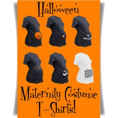Part one of our favorite Halloween maternity costume t-shirts! Includes a basketball, Jack-O-Lantern, and more