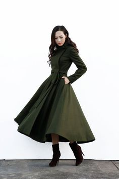 Army Green Maxi Wool Coat with a Hood / Women Wool Jacket / Winter Hooded Jacket / Maxi Coat / Long Jacket - NC647