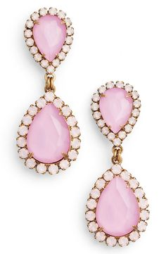 Shimmering halos of smaller stones enhance the dazzling sparkle of faceted, teardrop-shaped crystals in pale pink making these chic statement earrings an essential. Jewelry Art, Jewelry Accessories, Party Accessories, Gold Jewelry, Crystal Drop, Jewelery, Jewellery Earrings, Dangly Earrings, Teardrop Earrings