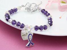 Purple survivor bracelet with awareness charm.