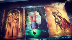 If I can be honest and say that this week's weekly reading makes me s bit nervous... Readers: Do you see what I see? Should I put some hope that the Hanged Man will temper the Knight of Wands a little bit? WIll we Ser a knee-jerk backlash?  Sigh. Beautiful deck anyway.  This week's reading was done with the #thelema #Tarot from #loscarabeo