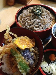 Set of Soba & Tendon(tenpura rice bowl). #japan #food