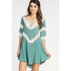 1 DAY SALE Crochet V Neck Tunic Dress This is a MUST HAVE! So casual and cute. 55% cotton 45% polyester. Sizes are S/M and M/L. Dresses