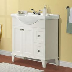 Magick Woods W x D Concord Collection Vanity and White Vanity Top with Integrated Sink 24 Inch Bathroom Vanity, Bathroom Vanities Without Tops, Bathroom Vanity Designs, Rustic Bathroom Vanities, Bathroom Vanity Cabinets, Small Bathroom, Bathroom Ideas, Granite Vanity Tops, Marble Vanity Tops