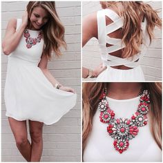 Look the necklace with the white dress, though I would have probably gone with turquoise. Passion For Fashion, Love Fashion, Fashion Beauty, Fashion Outfits, Dress Fashion, Look 2015, Style Personnel, Look At You, Look Chic