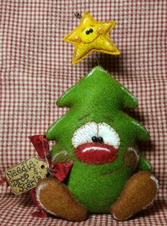 Needle Drop and Starla Pattern # 191 - Primitive Doll Pattern - Christmas - Tree - Star - Whimsical - Fiber Art - English Only - - Christmas Tree Star, Felt Christmas Ornaments, Christmas Time, Christmas Crafts, Christmas Decorations, Holiday Decor, Etsy Christmas, Xmas, Felt Crafts