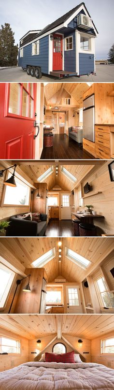 The 26-foot Porchlight was built by Hideaway Tiny Homes in Denver, Colorado. The home is 288-square-feet and features a queen bedroom loft and twin size main floor bedroom.