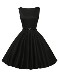 1691f9b36b1 Hepburn Style Retro Swing Dresses Boat Neck Solid Color Black CL6086-13 XS  Casual Party
