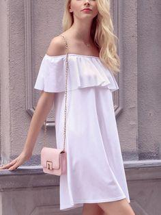 Ruffled Off-The-Shoulder Shift Dress - Zooomberg Ruffle Dress, Dress Skirt, Ruffles, Tunic Dresses, Fast Fashion, Fashion Online, Short Dresses, Summer Dresses, White Off Shoulder