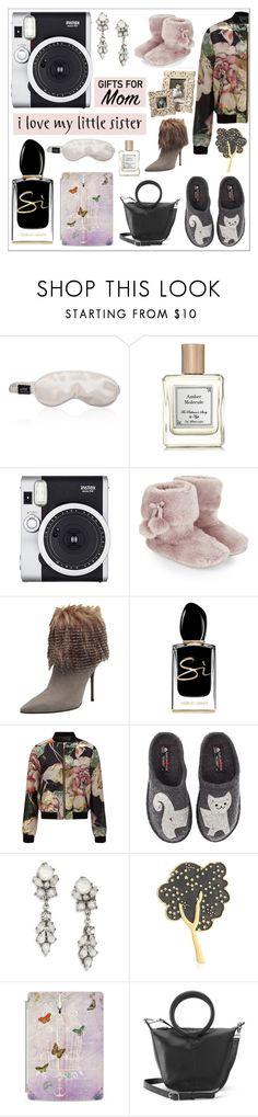 """""""Gift Guide: Mom and Sis"""" by theseapearl ❤ liked on Polyvore featuring Fujifilm, Monsoon, Carrano, Giorgio Armani, Miss Selfridge, Haflinger, Erickson Beamon, Marc Jacobs, Casetify and ILI"""