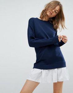 Трикотажное платье с кромкой из рубашечной ткани ASOS
