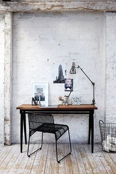 mix whitewashed brick and industrial furniture for functionality