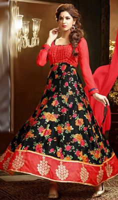 Dazzle the crowd in this red and black color embroidered Anarkali dress. You could see some fascinating patterns carried out with lace and resham work. #buttaworkanarkalis #embroideredbuttaanarkalisuit #chiffonanarkalidresses