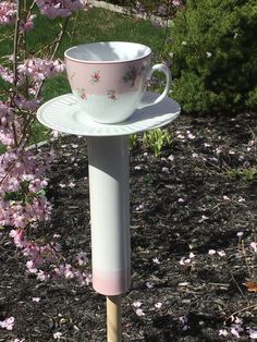 Bird feeder stake - teacup feeder - ceramic bird feeder - upcycled bird feeder - garden stakes - Laura Ashley vintage - upcycled china by BsCozyCottageCrafts on Etsy