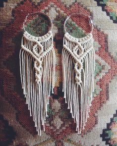 I've got 5 of these available on the sterling silver hoops., , I've got 5 of these available on the sterling silver hoops. Macrame Earrings Tutorial, Earring Tutorial, Boho Earrings, Crochet Earrings, Micro Macrame Tutorial, Fringe Earrings, Macrame Colar, Macrame Necklace, Macrame Jewelry