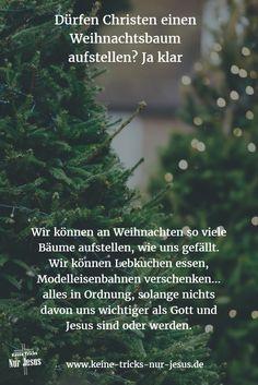 Nirgendwo in der Bibel wird ein Weihnachtsbaum erwähnt. Und nirgendwo in der Bibel steht, daß wir keinen Weihnachtsbaum aufstellen dürfen. Wir werden allerdings in der Bibel eindeutig davor gewarnt, daß uns irgendwas oder irgendwer wichtiger als Gott und Jesus werden.