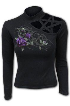 Tribal Rose - Pentagram Sho... Tribal Rose, Gothic Tops, Dark Fashion, Rose Design, Dyes, Fashion Outfits, Shoulder, Lady, Sweatshirts