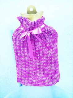 FREE SHIPPING Pink with satin ribbon Rope Knitted Hot by NesrinArt, $21.99