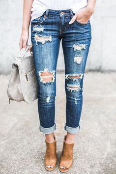 Ripped jeans femmes crayon pantalon na Outfit Jeans, Lässigen Jeans, Mode Jeans, Casual Jeans, Ripped Jeans, Skinny Jeans, Destroyed Jeans, Jeans Size, Denim Shorts