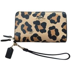 Pre-owned Coach Double Zip Phone Wristlet Wallet In Ocelot Print ($130) ❤ liked on Polyvore featuring bags, wallets, accessories, ocelot, leather change purse, coin purse, leather wallet, leather wristlet wallet and leather zipper wallet