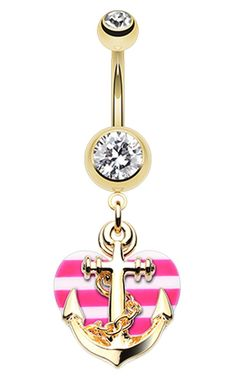 Golden Colored Anchor Nautical Heart Belly Button Ring - 14 GA (1.6mm) - Clear/Pink - Sold Individually