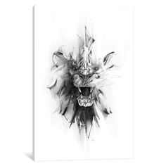'Stone Lion' by Alexis Marcou Graphic Art on Wrapped Canvas