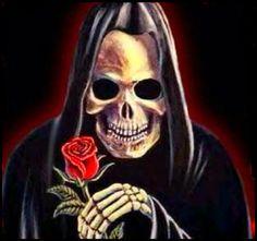 ' Grim Reaper Art, Don't Fear The Reaper, Angel Of Death, Skull Art, Dark Art, Halloween Face Makeup, Skulls, Fictional Characters, Roses