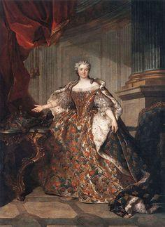 Jean Louis Tocqué — Portrait of Marie Leszczyńska Queen of France, 1740 : The Louvre Museum, Paris. Museum Paris, Louvre Museum, Hermitage Museum, Jean Antoine Watteau, Elisabeth I, Luis Xiv, Catherine The Great, 18th Century Fashion, Imperial Crown