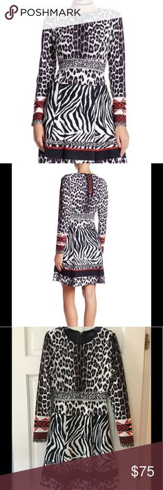 """Hale Bob Animal Print Dress - Crew neck with mesh trim  - Long sleeves  - Back zip closure  - Banded waist  - Allover print  Fiber Content  Self: 95% polyester, 5% spandex  Lining: 92% nylon, 8% spandex  Care Hand wash cold  Fit: this style fits true to size.  Underarm across 15"""". Length 36"""".  Retail price $235.  Excellent condition. EUC.  Smoke free and pet free. Hale Bob Dresses"""