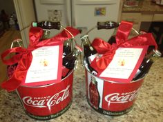 Made these at the end of last year as a group class gift. Tucked in the back of the basket was gift card from the class as well as handmade 'thank you' cards to the teachers from each of the children. Handmade Thank You Cards, Thank You Gifts, Teacher Gift Baskets, Teacher Gifts, Coca Cola Gifts, Win Free Gifts, Room Mom, Coke, Badges