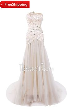 Fashion A-line Strapless Court Train Tulle Long Prom Dress With Sequins