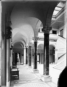 Interior, Main Building, Maryland Institute [College of Art]. 1300 West Mount Royal Avenue, Baltimore, Maryland. Not dated.  Unidentified photographer, 6 x 8 inch glass negative. Baltimore City Life Museum Collection, Maryland Historical Society,  78.18.3.