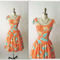 Vintage Summer Dress // 80's Bird of Paradise Print Cotton Hawaiian Tiki Party Sun Dress XS S - $40.00
