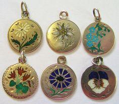 Antique Art Nouveau German 800 Silver Enamel Flower Charm ~ Beautiful! Pick 1 #Unbranded #AntiqueArtNouveau